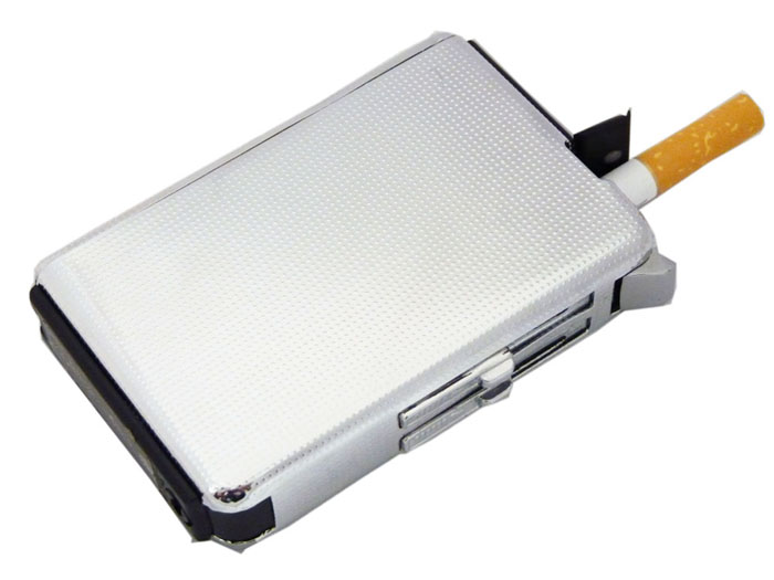 Zigarettenetui Slider mit Feuerzeug Silber