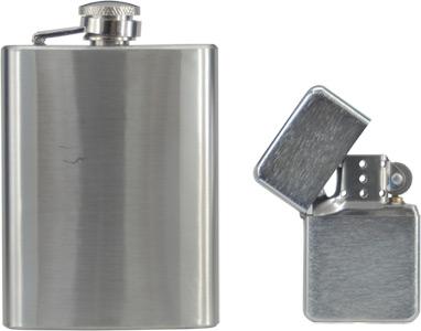 Flachmann + Sturmfeuerzeug aus hochwertigem Edelstahl