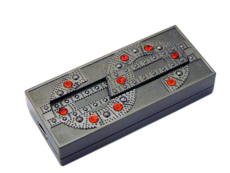 Dollarzeichen USB Feuerzeug in Rot/Titan
